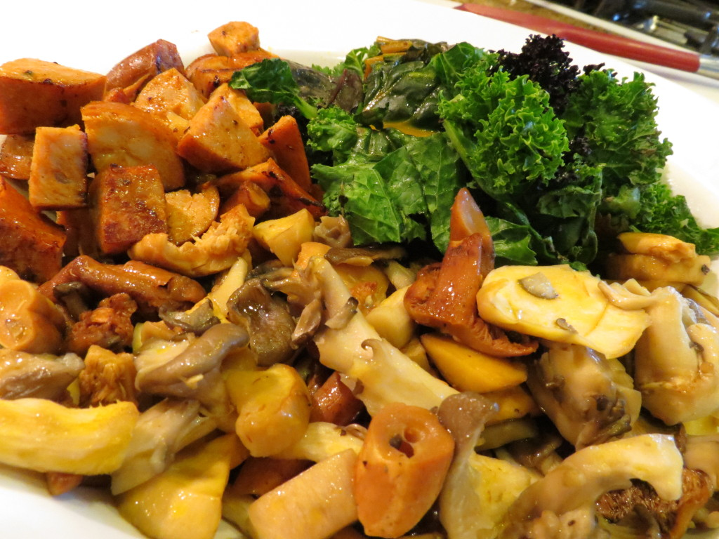 Wild Mushrooms, Chicken Andouille Sausage, and Greens