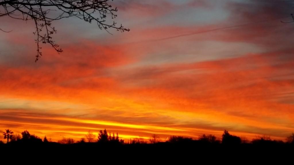 Sunrise, looking east towards Sacramento.
