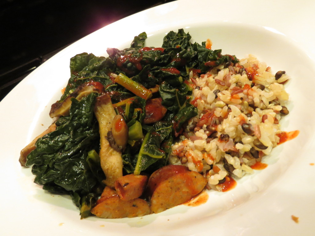 Organic Dino Kale, Shiitake Mushrooms, Chicken Andouille Sausage, and Whole Grain Rice Medley .
