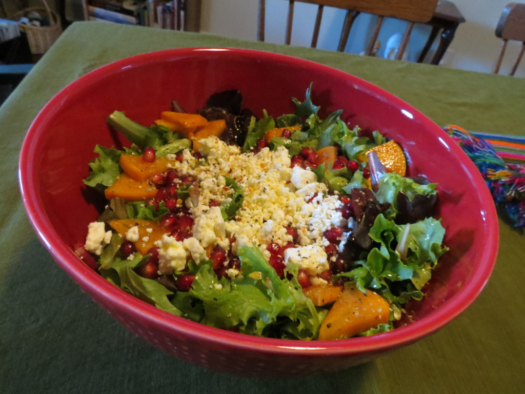 Mixed Greens with Fresh Fuyu Persimmons, Pomegranate, Feta Cheese, and a light and refreshing Citrus Vinaigrette.